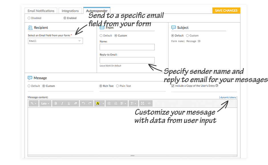 Send to a specific email field from your form, Customize your message with data from user input, Specify sender name and reply to email for your messages