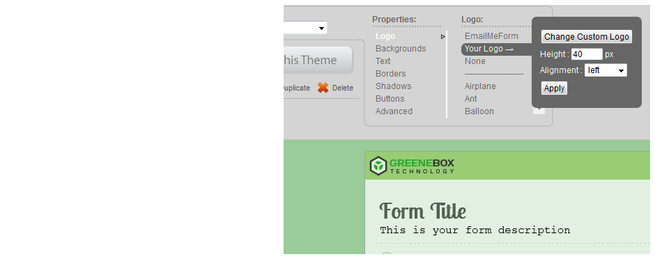 Upload your logo and apply to any theme.