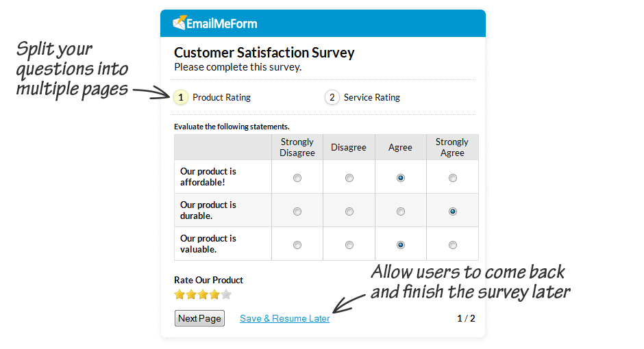 Multipage Customer Satisfaction Surveys