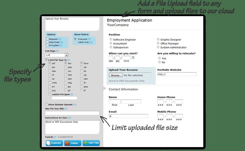 Free File Upload Forms and Cloud Storage - EmailMeForm