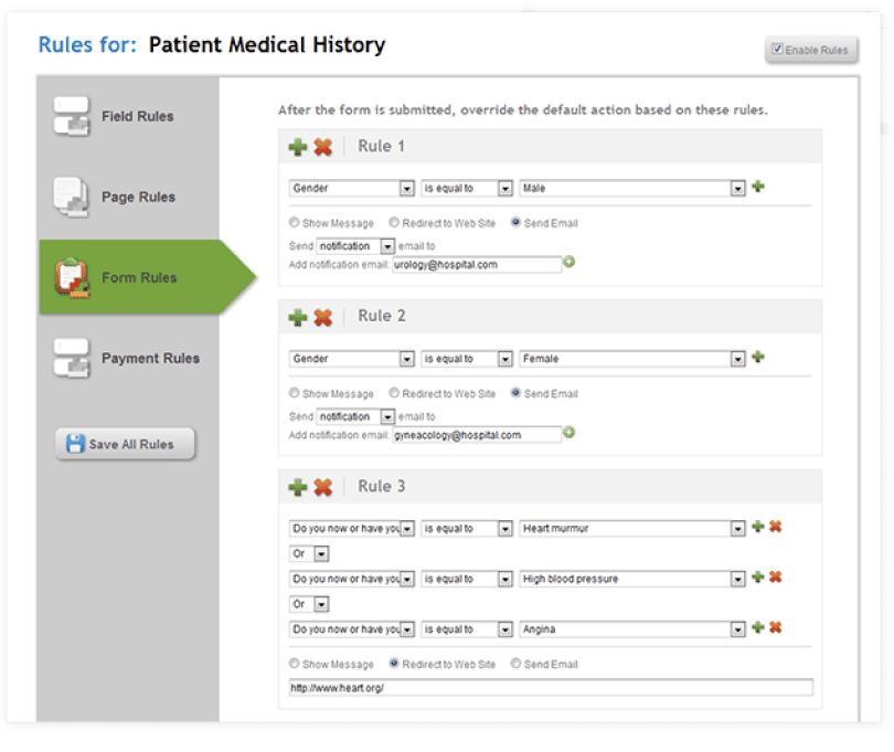 Determine form behavior according to user input, Show message, Redirect to Website, or Send notifications