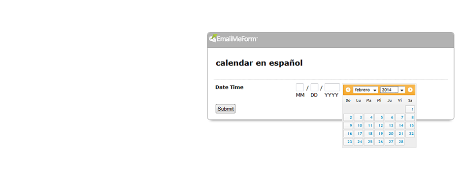 Sample calendar in Spanish