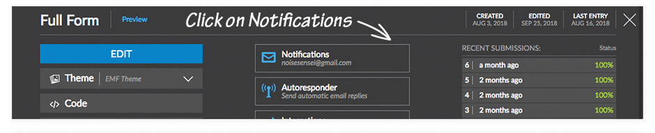Click on Notifications icon