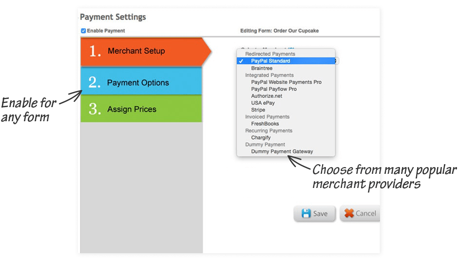 Use our free form builder to create payment forms which can  process online transactions from international customers.