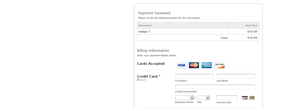 Credit Card process page.
