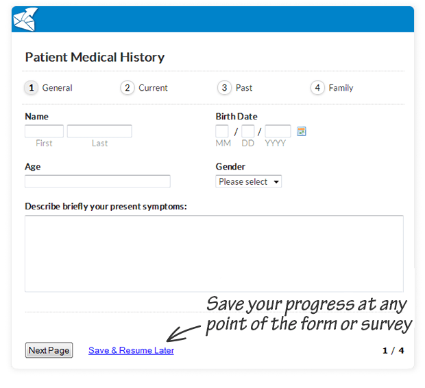 allow users to save  u0026 resume progress with online forms  u0026 surveys