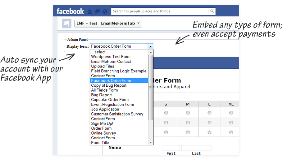 Embed any type of form and even accept payments on Facebook. Auto sync your account with our Facebook App.
