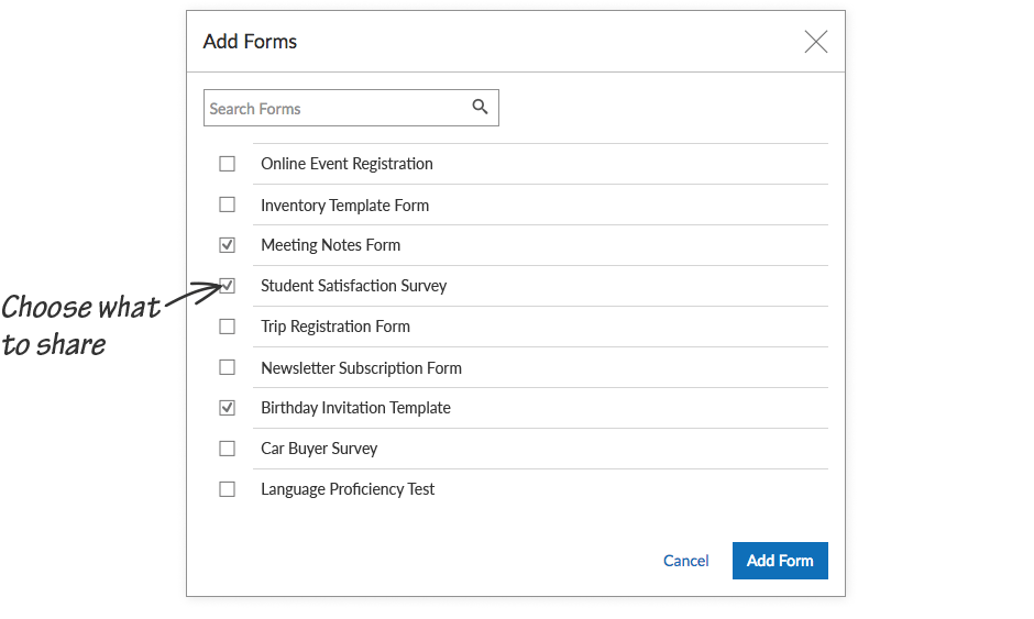 Grant access to specific forms, reports and themes, Choose what you share